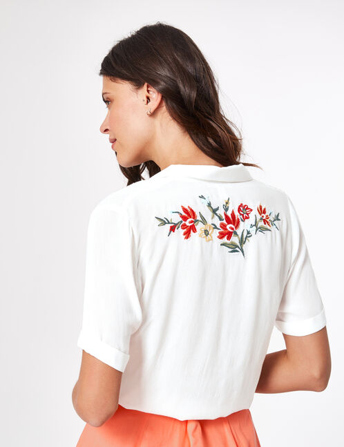 Cream short embroidered blouse