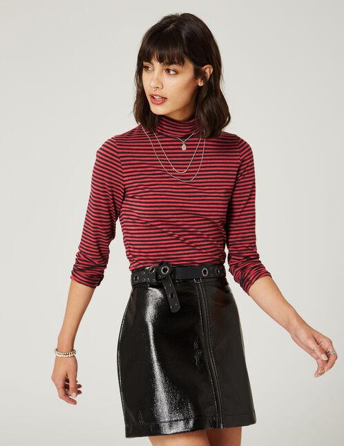tee-shirt  basic col roulé rayé bordeaux et noir