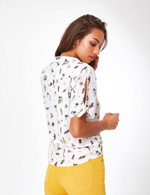 White print blouse