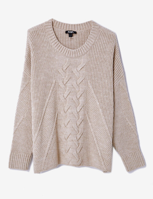 Beige ribbed jumper with cable stitch detail