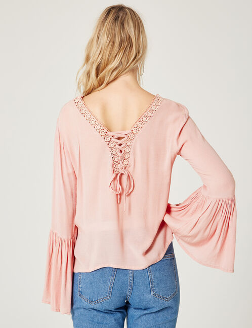 blouse manches pagodes rose clair