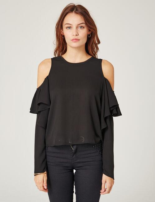 blouse avec volants noire