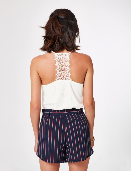 Cream camisole with macramé detail