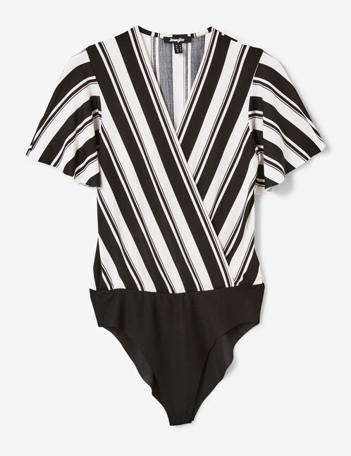 Black and white striped wrap bodysuit