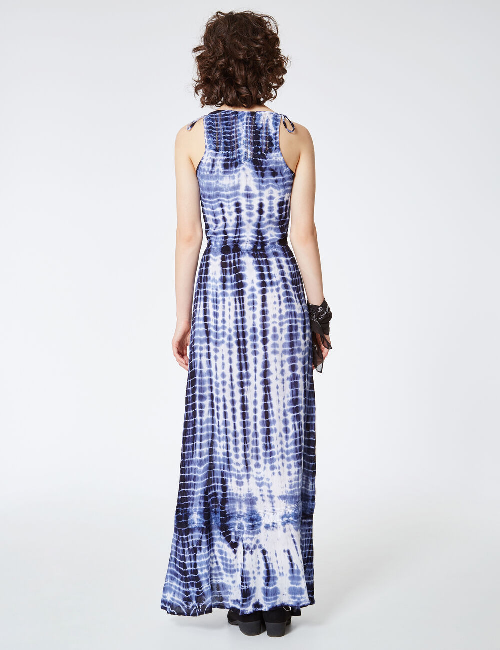 robe longue tie and dye bleu et blanc femme jennyfer. Black Bedroom Furniture Sets. Home Design Ideas
