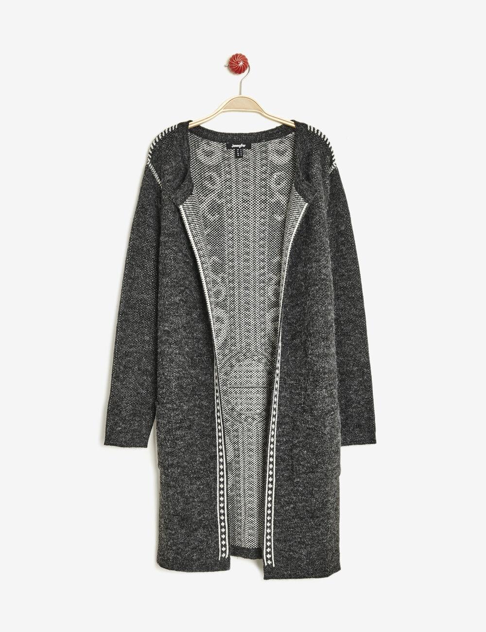 gilet long avec frise dos gris anthracite chin femme jennyfer. Black Bedroom Furniture Sets. Home Design Ideas