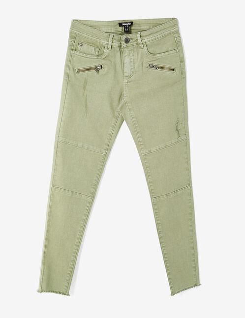 pantalon skinny à découpes kaki clair