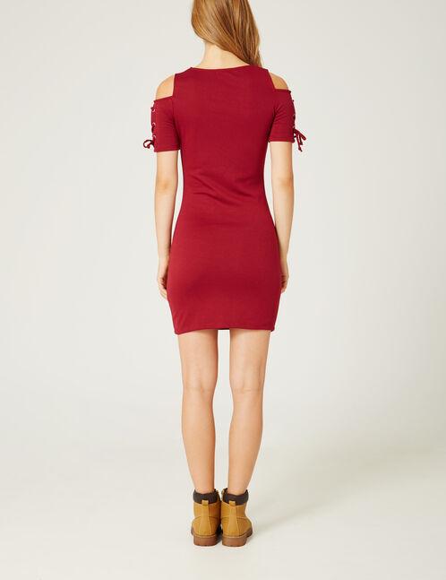 robe tube avec laçages rouge foncé