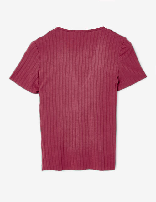 Red T-shirt with lacing detail