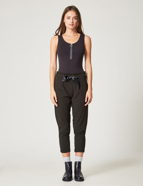 Black loose-fit trousers with ruched detail