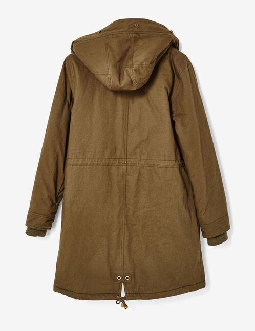 Long khaki hooded parka