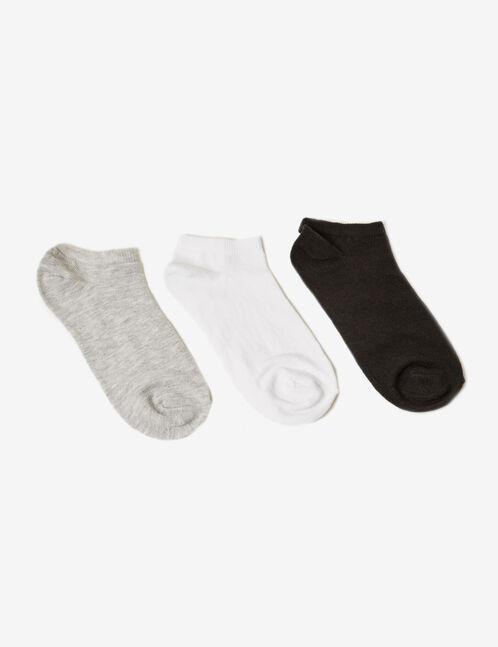 chaussettes basses noires, grises et blanches