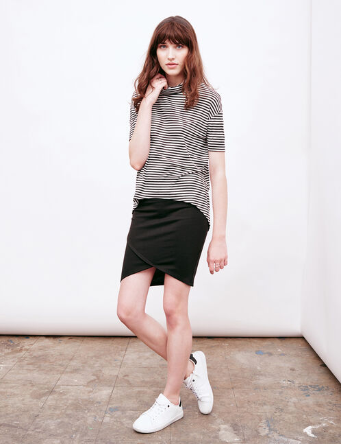 Black cross-cut tube skirt