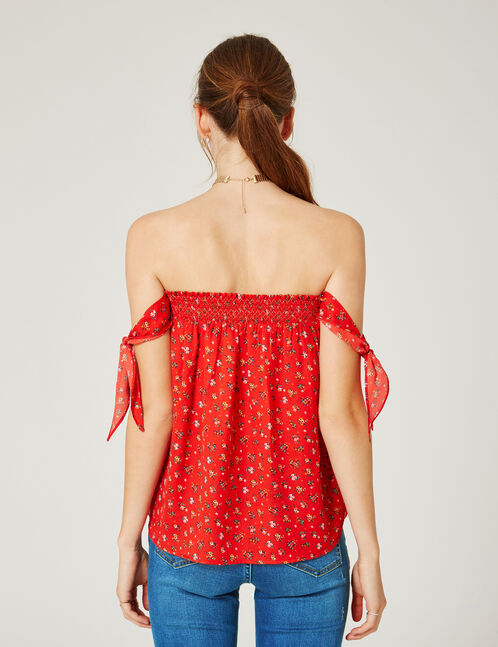 Red floral strapless top with tie detail