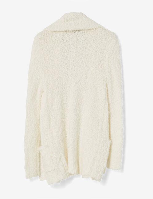 Cream popcorn knit open cardigan