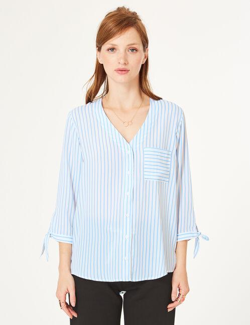 Cream and light blue striped deep-V shirt