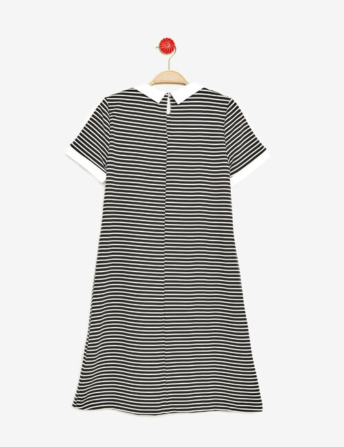 Black and white textured striped dress
