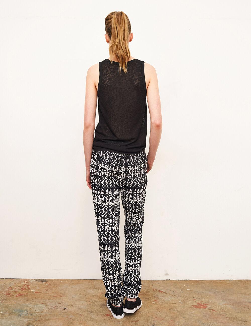 pantalon fluide azt que noir et blanc femme jennyfer. Black Bedroom Furniture Sets. Home Design Ideas