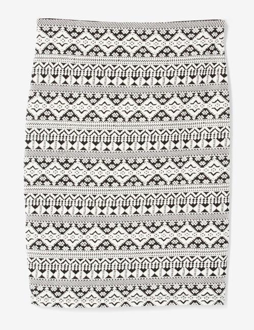 Black and white Aztec-patterned tube skirt