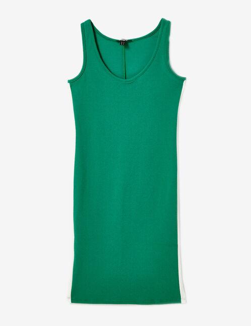 robe bandes cotés verte