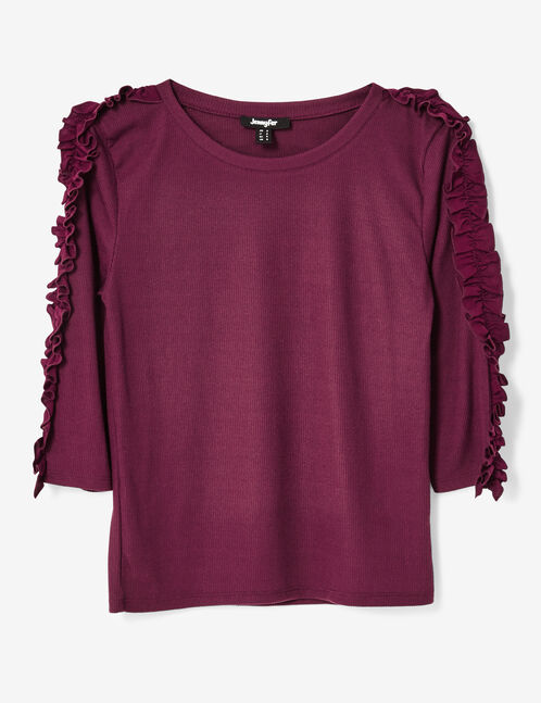 Purple top with frill detail
