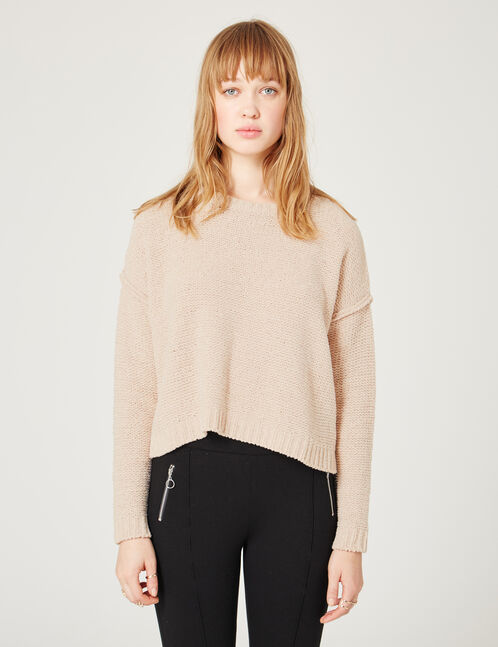 Light pink chenille jumper with lurex detail