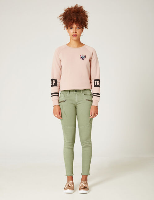 Pale khaki skinny trousers with seam detail
