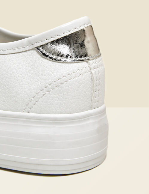 White faux leather platform sole trainers