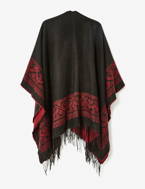 Black and burgundy Aztec-patterned cape