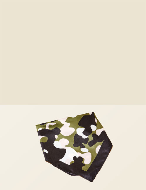Black, khaki, light pink and cream camouflage bandana