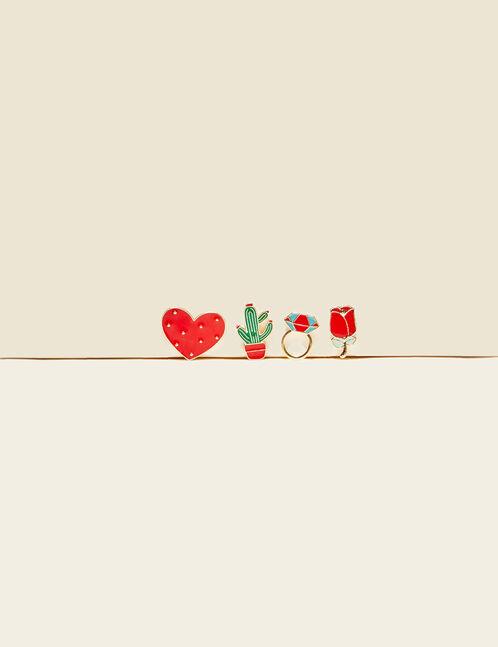 pins girly rouges, verts et dorés