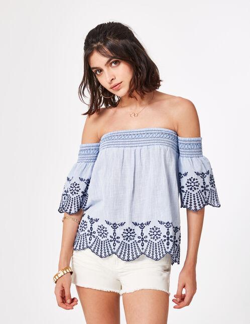 blouse épaules ajourées bleu clair
