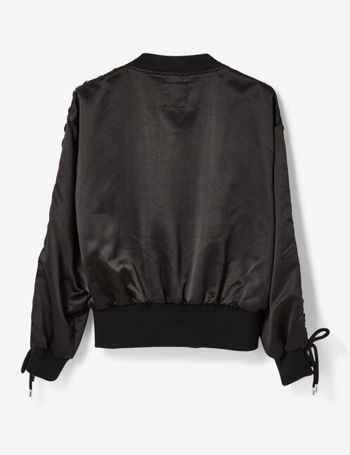 Black bomber jacket with lacing detail