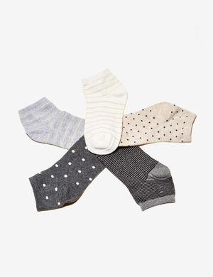 chaussettes rayures et pois beiges et grises