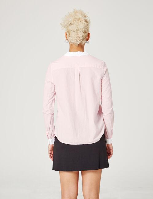 chemisier avec col perles rose clair et blanc
