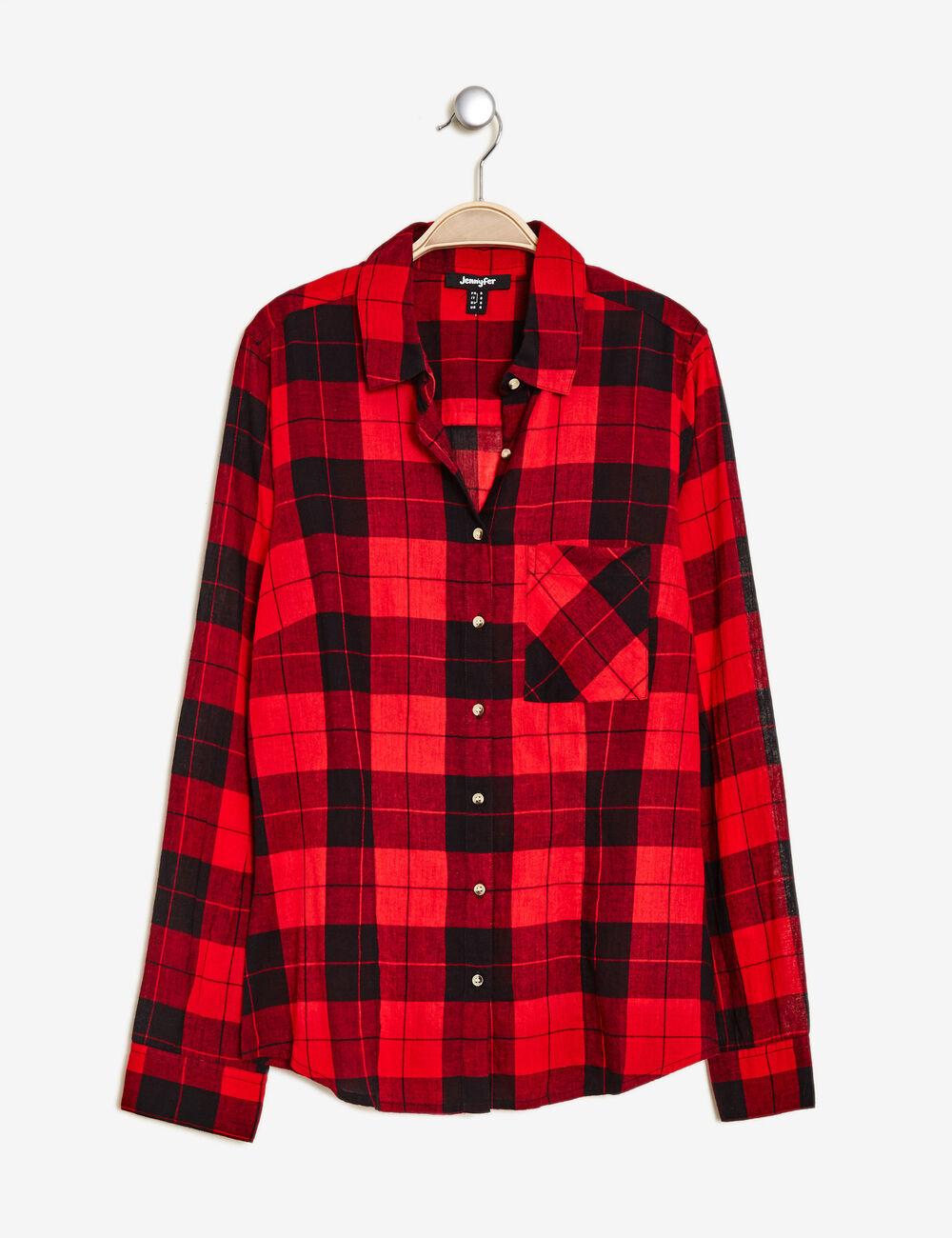 chemise carreaux en coton noire et rouge femme jennyfer. Black Bedroom Furniture Sets. Home Design Ideas