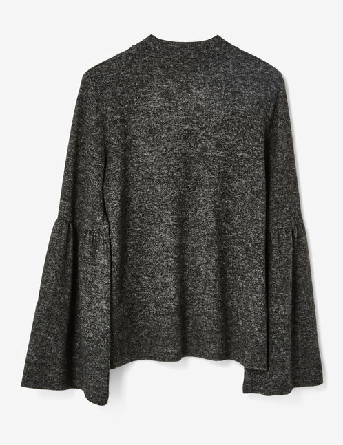 Charcoal grey marl top with pagoda sleeves