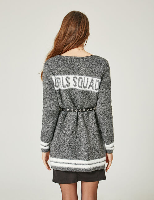 gilet girls squad gris anthracite chiné