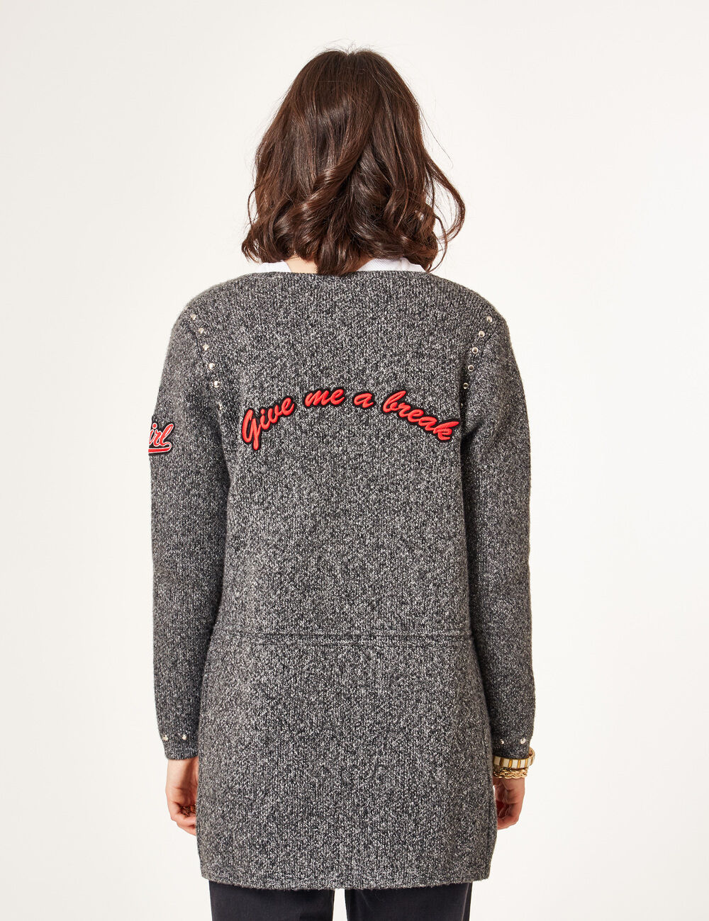 ... Charcoal grey marl cardigan with patch and stud details