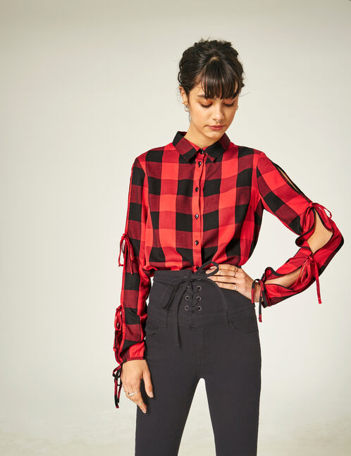 Red and black open-sleeve shirt