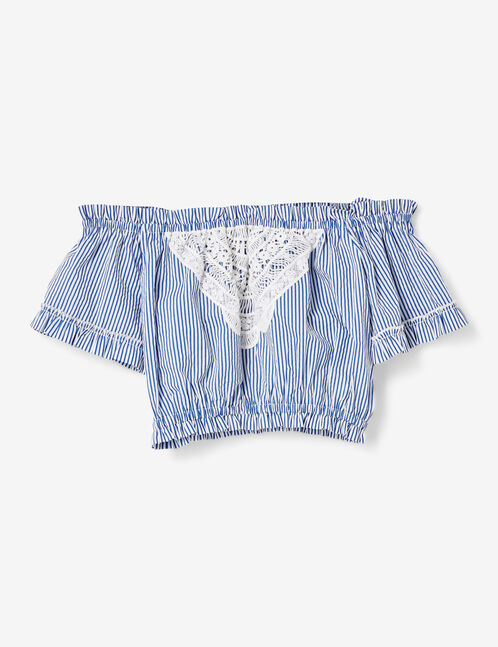 Cream and blue striped cropped lace blouse