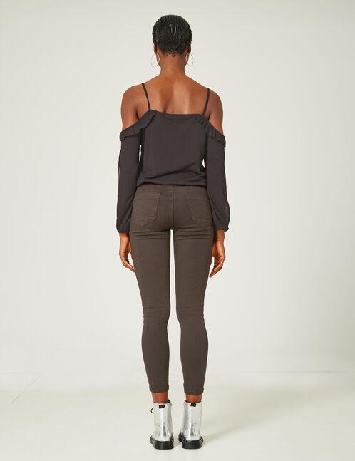 pantalon brodé et clouté noir