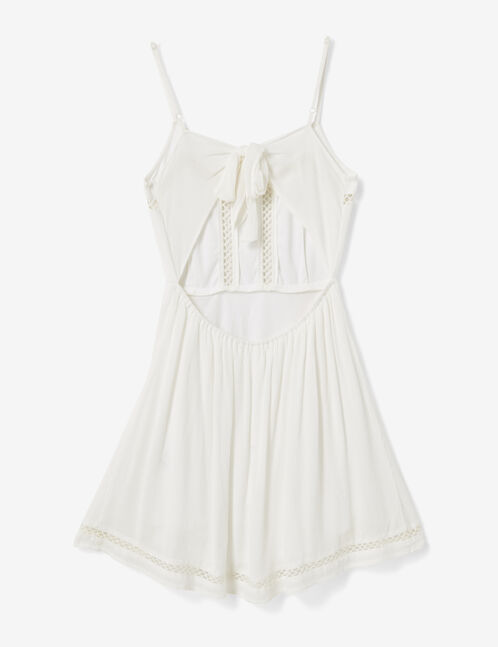 Cream dress with openwork macramé detail