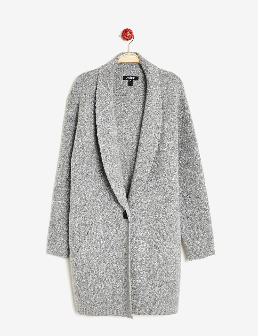 gilet blazer long en maille gris femme jennyfer. Black Bedroom Furniture Sets. Home Design Ideas