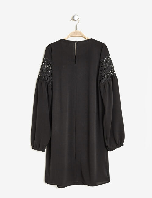 Black dress with openwork lace detail