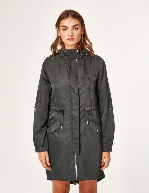 Black lightweight waterproof parka