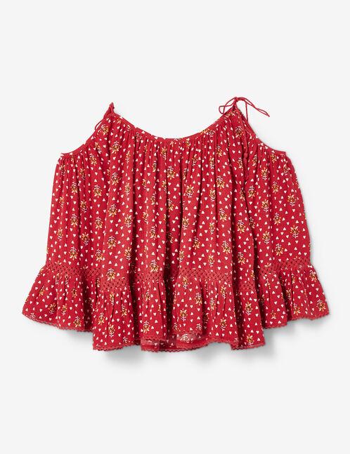 Burgundy cold shoulder blouse
