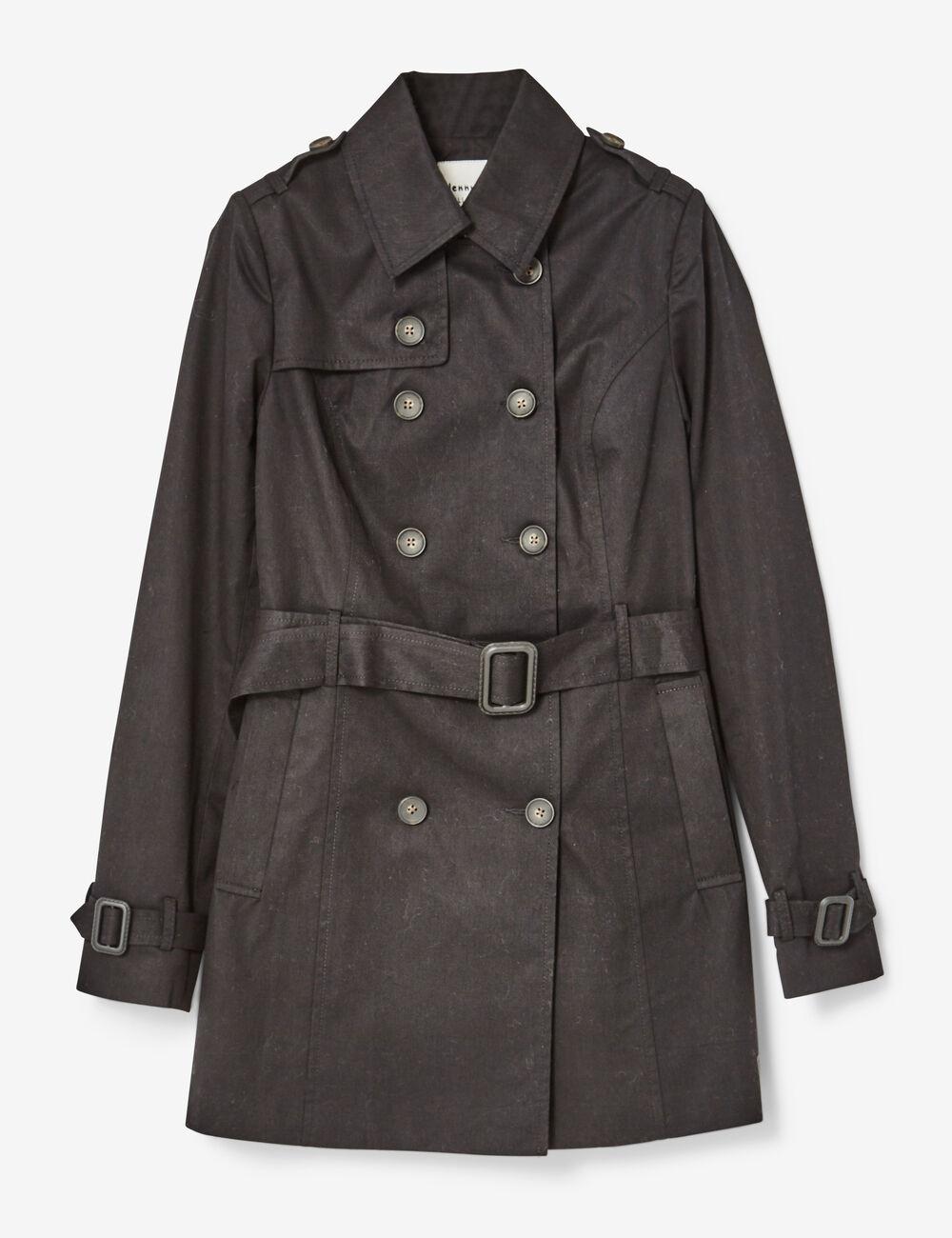 Veste trench noir femme jennyfer for Veste noir interieur ecossais