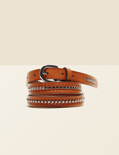 Camel belt with stud and perforated details