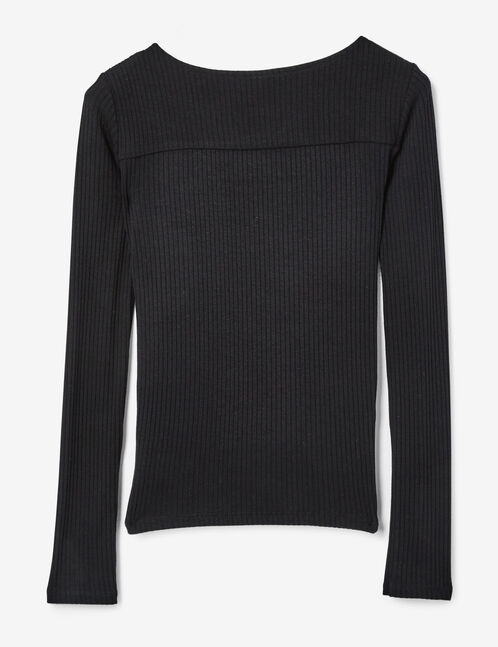 Black top with open front detail